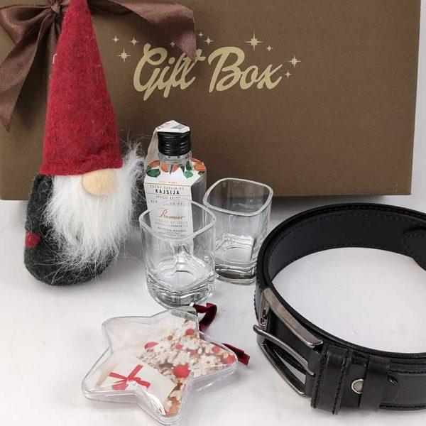 Božićna poklon kutija Muški kožni kaiš, patuljak i ornament fotografijom 00062-1
