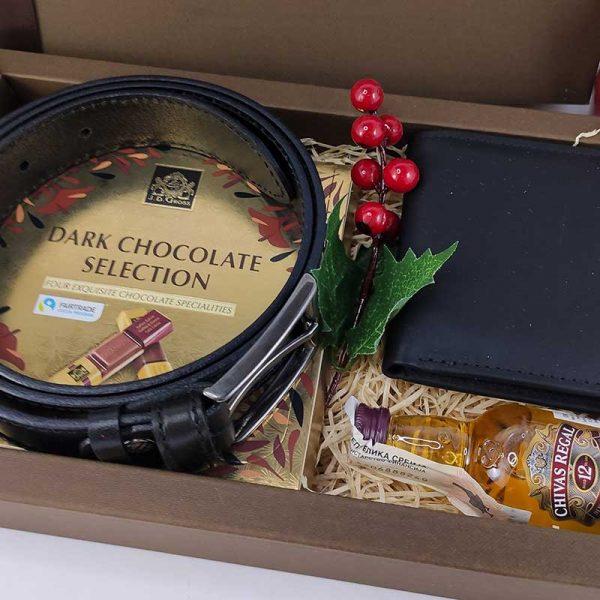 Božićna poklon kutija Kožni novčanik i kaiš Premijum box 00065