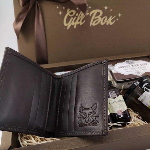 Poklon kutija Braon Ballantines box sa kožnim novčanikom 00049-1