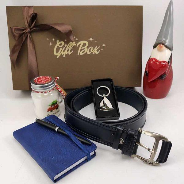 Poklon kutija za Božić – Jedriličarski box sa teget kožnim kaišem 00048-1
